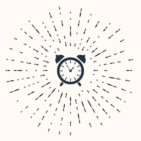 Grey Alarm clock icon isolated on beige background. Wake up, get up concept. Time sign. Abstract circle random dots. Vector Illustration Vettoriali