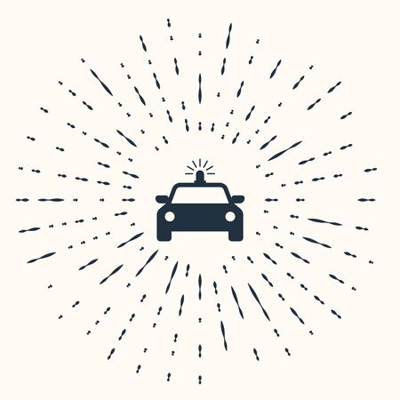 Grey Police car and police flasher icon isolated on beige background. Emergency flashing siren. Abstract circle random dots. Vector Illustration
