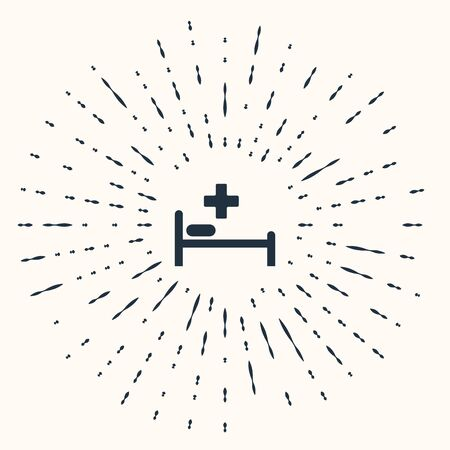 Grey Hospital Bed with Medical symbol of the Emergency - Star of Life icon isolated on beige background. Abstract circle random dots. Vector Illustration