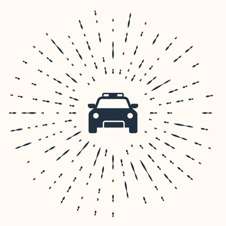 Grey Police car and police flasher icon isolated on beige background. Emergency flashing siren. Abstract circle random dots. Vector Illustration Banque d'images - 132838439