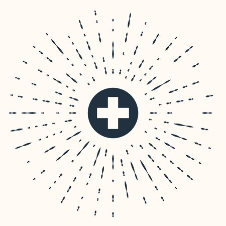 Grey Medical cross in circle icon isolated on beige background. First aid medical symbol. Abstract circle random dots. Vector Illustration Illustration