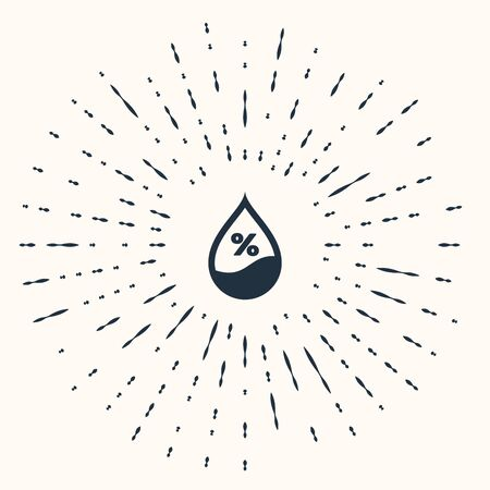 Grey Water drop percentage icon isolated on beige background. Humidity analysis. Abstract circle random dots. Vector Illustration