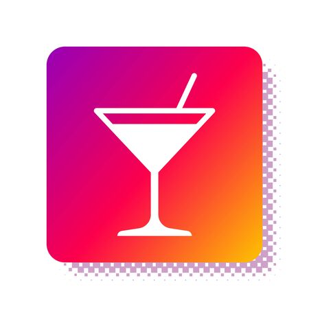 White Martini glass icon isolated on white background. Cocktail icon. Wine glass icon. Square color button. Vector Illustration 向量圖像