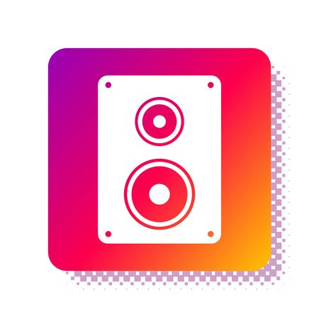 White Stereo speaker icon isolated on white background. Sound system speakers. Music icon. Musical column speaker bass equipment. Square color button. Vector Illustration
