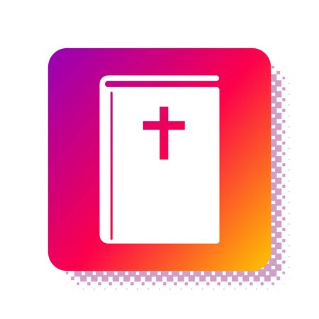 White Holy bible book icon isolated on white background. Square color button. Vector Illustration