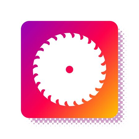 White Circular saw blade icon isolated on white background. Saw wheel. Square color button. Vector Illustration