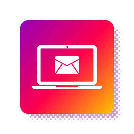 White Laptop with envelope and open email on screen icon isolated on white background. Email marketing, internet advertising concepts. Square color button. Vector Illustration Stock Vector - 132933462