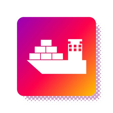 White Cargo ship icon isolated on white background. Square color button. Vector Illustration