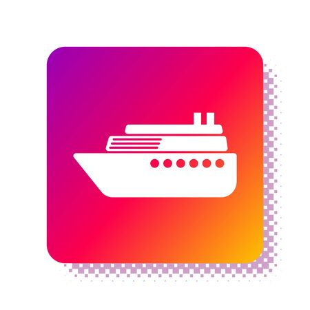 White Ship icon isolated on white background. Square color button. Vector Illustration