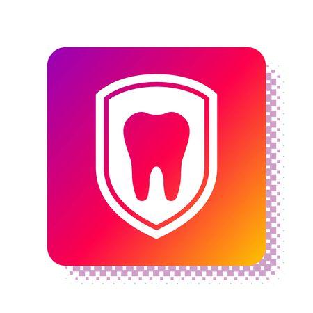 White Dental protection icon isolated on white background. Tooth on shield logo icon. Square color button. Vector Illustration