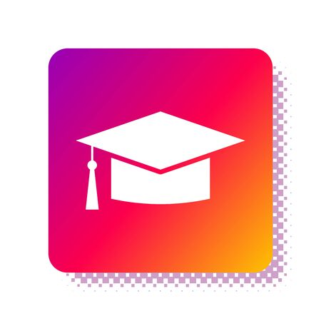 White Graduation cap icon isolated on white background. Graduation hat with tassel icon. Square color button. Vector Illustration