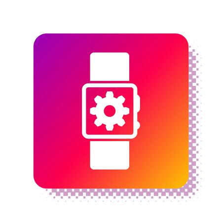 White Smartwatch setting icon isolated on white background. Smart watch settings. Square color button. Vector Illustration Standard-Bild - 132933765