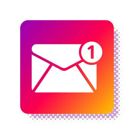 White Envelope icon isolated on white background. Received message concept. New, email incoming message, sms. Mail delivery service. Square color button. Vector Illustration