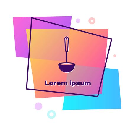 Purple Kitchen ladle icon isolated on white background. Cooking utensil. Cutlery spoon sign. Color rectangle button. Vector Illustration Illustration