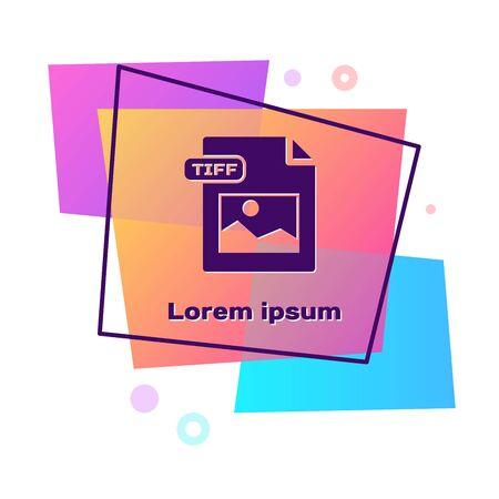 Purple TIFF file document. Download tiff button icon isolated on white background. TIFF file symbol. Color rectangle button. Vector Illustration Illustration