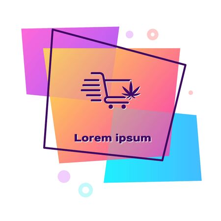 Purple Shopping cart with marijuana or cannabis leaf icon isolated on white background. Online buying. Delivery service. Supermarket basket. Color rectangle button. Vector Illustration