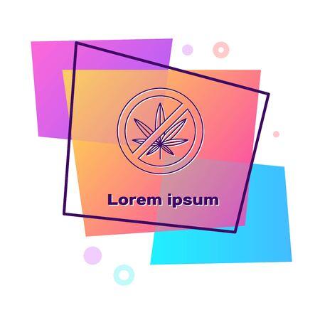 Purple Stop marijuana or cannabis leaf icon isolated on white background. No smoking marijuana. Hemp symbol. Color rectangle button. Vector Illustration