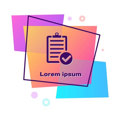 Purple Verification of delivery list clipboard and pen icon isolated on white background. Color rectangle button. Vector Illustration