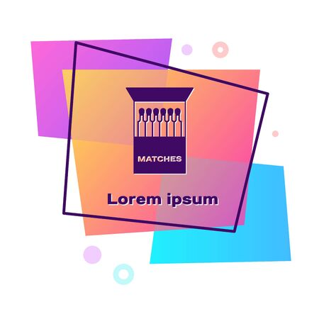 Purple Open matchbox and matches icon isolated on white background. Color rectangle button. Vector Illustration