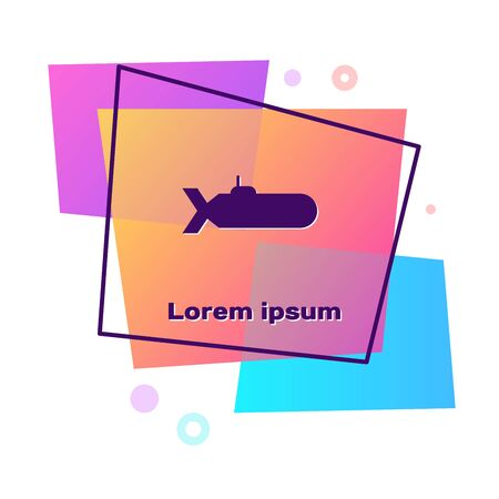 Purple Submarine icon isolated on white background. Military ship. Color rectangle button. Vector Illustration