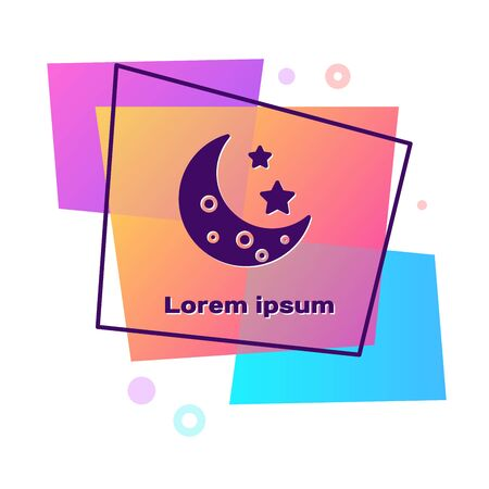 Purple Moon and stars icon isolated on white background. Color rectangle button. Vector Illustration Vectores