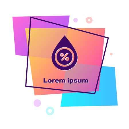 Purple Water drop percentage icon isolated on white background. Humidity analysis. Color rectangle button. Vector Illustration