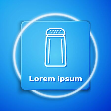 White Salt and pepper icon isolated on blue background. Cooking spices. Blue square button. Vector Illustration