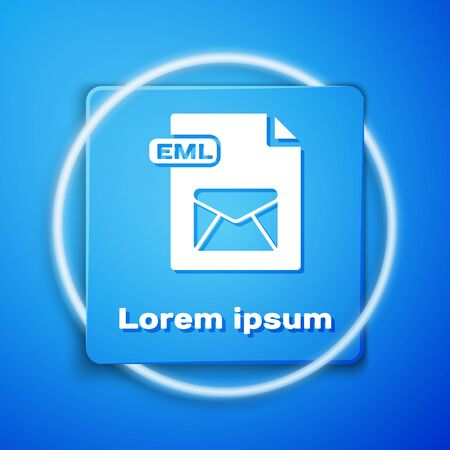 White EML file document. Download eml button icon isolated on blue background. EML file symbol. Blue square button. Vector Illustration