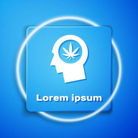 White Silhouette of male head in profile with marijuana or cannabis leaf icon isolated on blue background. Marijuana legalization. Hemp symbol. Blue square button. Vector Illustration Illustration