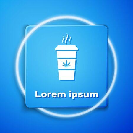 White Cup coffee with marijuana or cannabis leaf icon isolated on blue background. Marijuana legalization. Hemp symbol. Blue square button. Vector Illustration Illustration