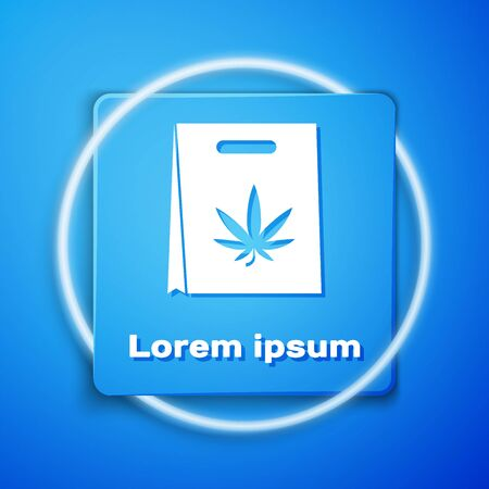 White Shopping paper bag of medical marijuana or cannabis leaf icon isolated on blue background. Buying cannabis. Hemp symbol. Blue square button. Vector Illustration