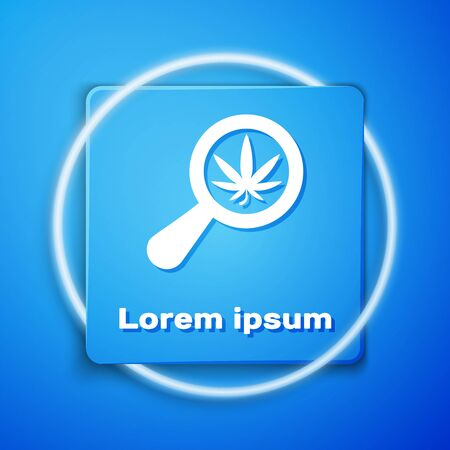 White Magnifying glass and medical marijuana or cannabis leaf icon isolated on blue background. Hemp symbol. Blue square button. Vector Illustration