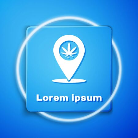 White Map pointer and marijuana or cannabis leaf icon isolated on blue background. Hemp symbol. Blue square button. Vector Illustration