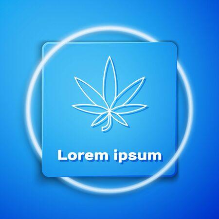 White Medical marijuana or cannabis leaf icon isolated on blue background. Hemp symbol. Blue square button. Vector Illustration