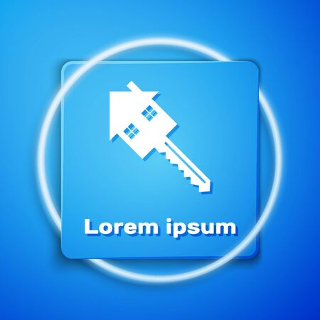 White House with key icon isolated on blue background. The concept of the house turnkey. Blue square button. Vector Illustration