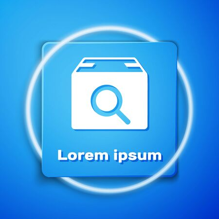 White Search package icon isolated on blue background. Parcel tracking symbol. Magnifying glass and cardboard box. Logistic and delivery. Blue square button. Vector Illustration  イラスト・ベクター素材