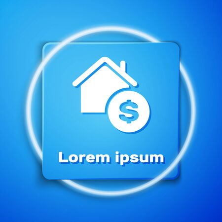 White House with dollar symbol icon isolated on blue background. Home and money. Real estate concept. Blue square button. Vector Illustration Ilustracja