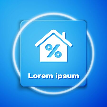 White House with percant discount tag icon isolated on blue background. House percentage sign price. Real estate home. Credit percentage symbol. Blue square button. Vector Illustration