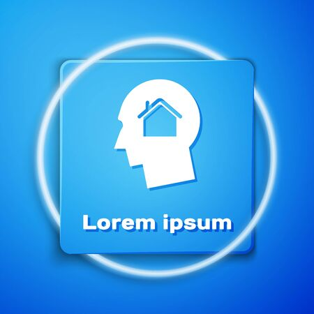 White Man dreaming about buying a new house icon isolated on blue background. Blue square button. Vector Illustration Ilustracja