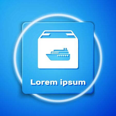 White Cargo ship with boxes delivery service icon isolated on blue background. Delivery, transportation. Freighter with parcels, boxes, goods. Blue square button. Vector Illustration Banque d'images - 133104697