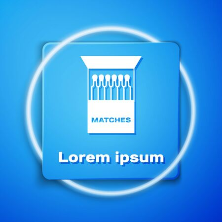 White Open matchbox and matches icon isolated on blue background. Blue square button. Vector Illustration Reklamní fotografie - 133106128