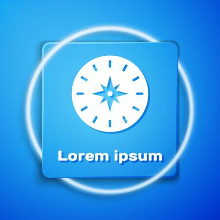 White Compass icon isolated on blue background. Windrose navigation symbol. Wind rose sign. Blue square button. Vector Illustration