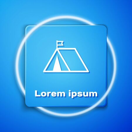 White Tourist tent with flag icon isolated on blue background. Camping symbol. Blue square button. Vector Illustration