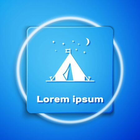 White Tourist tent with flag icon isolated on blue background. Camping symbol. Blue square button. Vector Illustration Reklamní fotografie - 133106881
