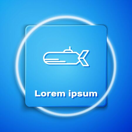White Submarine icon isolated on blue background. Military ship. Blue square button. Vector Illustration