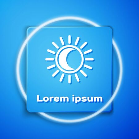 White Eclipse of the sun icon isolated on blue background. Total sonar eclipse. Blue square button. Vector Illustration