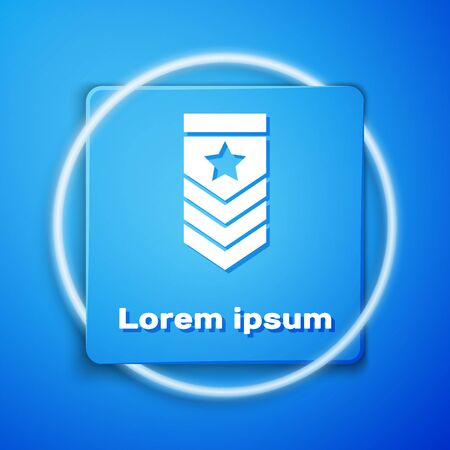 White Chevron icon isolated on blue background. Military badge sign. Blue square button. Vector Illustration