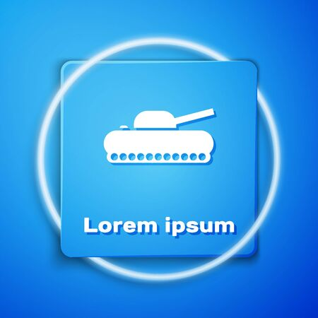 White Military tank icon isolated on blue background. Blue square button. Vector Illustration