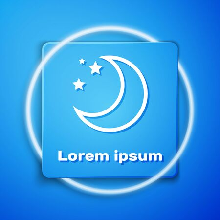 White Moon and stars icon isolated on blue background. Blue square button. Vector Illustration 일러스트