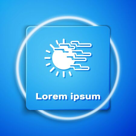 White Fog and sun icon isolated on blue background. Blue square button. Vector Illustration